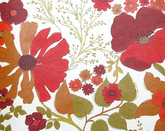 Retro Wallpaper by the Yard 70s Vintage Wallpaper - 1970s Red Burgundy and Brown Floral with Sunflower Poppy and Daisy Flowers