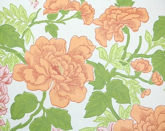 Retro Wallpaper by the Yard 70s Vintage Wallpaper - 1970s Pink Wisteria and Peach Flowers on White