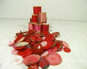 Vintage Variety of Shades of Red Buttons Collection - 76 Buttons for Repurposing Upscaling Upcycling Sewing Buttons for Crafts and Projects