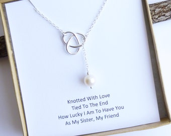 Sterling Silver Infinity Love Knot Necklace with Freshwater Pearl -- Sisters Gift Message