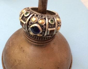 Vintage sterling and 18k gold gemstone ring