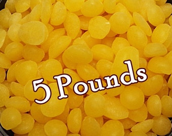 Bulk YELLOW BEESWAX Pellets 5 Pounds (Sweet Honey Scent) Natural & Organic