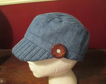 Recycled denim womens cadet style cap with vintage button embelishment