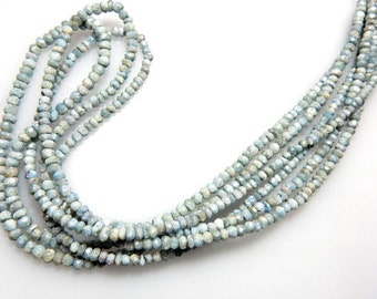 Silverite Rondelle Faceted Beads Size - 3.5MM3 strands 14'' AAA Quality Natural Bluish Wholesale Price