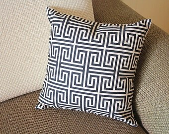 "Designer Linen Pillow -black white geometrical geometrical Pillow Cover  - 18"" /45 cm Decorative Cushion Cover Throw Pillow cover 221"