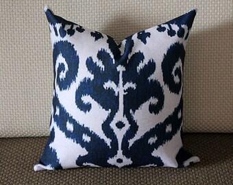 Blue Ikat Pillow - Blue Beige Navy Ikat Pillow Cover - Decorative Throw Pillow - Cobalt Blue Pillow 269