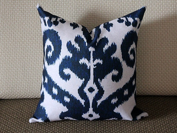 Blue Ikat Pillow Blue Beige Navy Ikat Pillow Cover