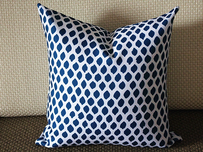 Modern Country Pillows : Blue White Ikat Indigo Designer Pillow Modern Pillow Dark