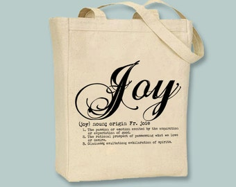Joy Definition Typography Illustration Canvas Tote -- Selection of sizes available, image in ANY COLOR