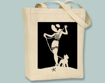 Vintage French Riviera Girl Silhouette Natural or Black Canvas Tote -- Selection of sizes ANY COLOR IMAGE