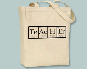 Teacher, TeAcHEr Periodic Table, Chart Natural or Black Canvas Tote - other sizes available, ANY COLOR image