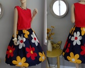 handmade Mod Floral Full skirt sundress sleeveless midi Dress M-L