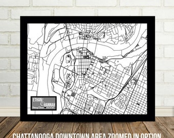 Chattanooga Art Print Engagement Gift Chattanooga Map Tennessee Map Personalized Map Tennessee Wedding Gift for Parents