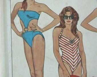 UNCUT Simplicity One Piece Swim Suit Swimsuit Bathing Suit Cut Out Front Strapless Bikini Sewing Pattern 8633 Sizes 12 14 16