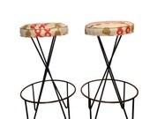 Pair of Mid Century Modern Frederick Weinberg Style Stools