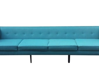 Fantastic Mid Century Modern Long Sofa Completely Reupholstered - Like New But Better