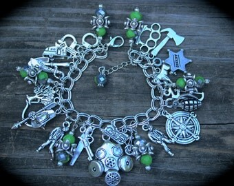 Zombie Apocalypse Charm Bracelet - Post Survival - Theme Jewellery - Dead - Gothic - Biohazard - Horror Bracelet - Zombie Jewelry