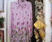 Sequined & Beaded Floral Violet Tunic / Blouse / Shirt, Vintage - Large to XLarge