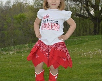 Girls western hunting cowboys shirt with bandana skirt