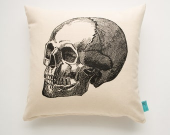 Skull Pillow - Hand Screen Printed Pillow