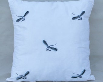 White Silk Pillow With Dragonflies Pillow