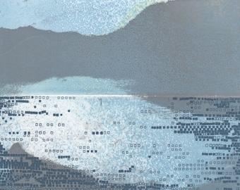 "Art Print .Etching Print . Landscape Art . Home Decor: ""Striation 243"". Print Size 9 1/2"" x 9 1/2"" . Unframed ."