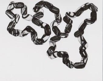 "Art Print . Etching . Black and White Minimalist Art : ""Stitch 3"". Print Size 11"" x 13"". unframed"