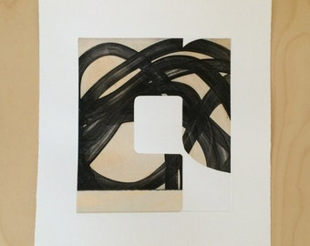 "Abstract Art Print . Fine Art Etching . Black and White Art: ""Swatch 25"". Print Size 12"" x 13"". unframed"
