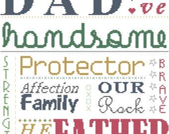 Dad Typography Cross Stitch Pattern/Father's Day Cross Stitch Pattern/For Dad Cross Stitch Pattern/Love Dad Cross Stitch Pattern/Digital PDF