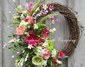 Spring Wreath, Easter Wreath, Floral Wreath, Designer Floral, Victorian Garden, Country French Wreath, Elegant Floral, Cottage Wreath