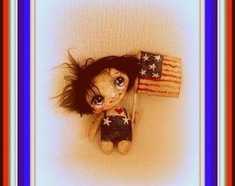 Primitive cloth doll 4th July Flag
