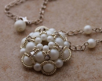 Bride's White Pendant with Swarovski crystals