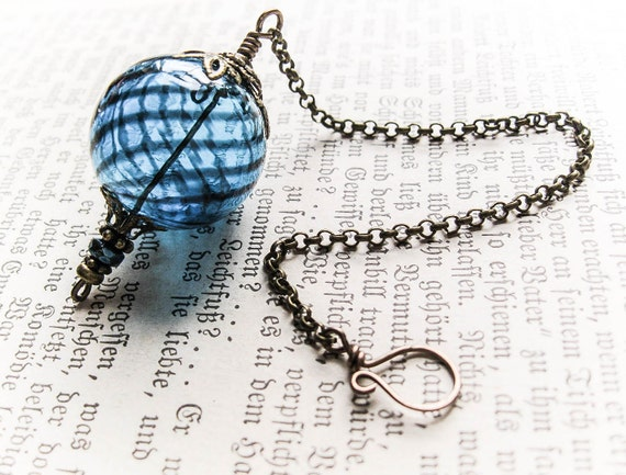 Witch Ball in Brass and Ocean Blue. Wee Portable Spirit Catcher. Glass Ornament. Pagan Wicca