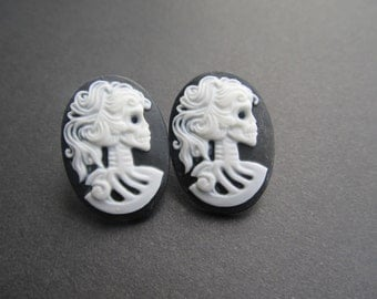 Victorian Skeleton Woman Stud Earrings Halloween, Gothic, All Hallows