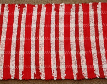 Handwoven Rag Rug - Candy Cane bright red and white stripes - 43 inches....(#81)