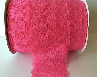 "Hot Pink Lace Elastic 3.5""  Wide Lace Stretch Elastic  trim You Pick colors baby headband lace elastic garter lingerie 3, 5, OR 10 yards"