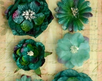 fabric flowers - Chantilly Mixed Blooms -  Blue/Green 1279-190  - layered fabric flowers with embellished centers