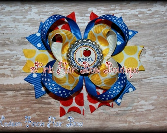 Back to School Bow - I Love School - red yellow blue polka dot - bow to start kindergarten or preschool sold individually or as set of 2