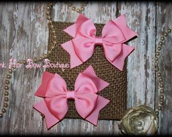 Pink Pigtail Bows , set of 2 Pink Hair Bows, Pink Piggie Bows, Pink hair bows