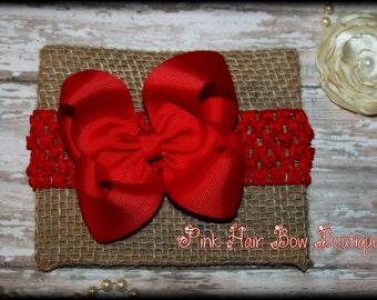Red Hair bow headband , Red Hair Bow, Red Hair Clip, Red Baby Headband, Red Headband, Christmas hair bow headband, Red baby headband