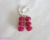 Red ruby rondelle  earrings  pieced ears -July birthday- 311 -UK SELLER