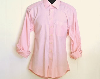Men's Dress Shirt Pink Long Sleeve L/S Button Up Broadcloth By Hickey-Freeman Medium 15 1/2 / 34 Oxford Vintage Menswear Fashion