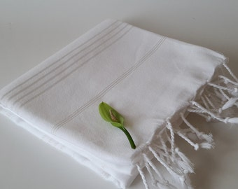 SALE 25% OFF Turkish Towel, Peshtemal, Natural Soft Cotton Bathroom, Beach Towel, Mother's day gift,  summer coverups, bridesmaids, White