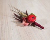 One of Kind READY TO SHIP Hops Boutonniere Alaskan Brewing Company- Red