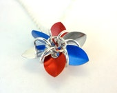 Red White And Blue Patriotic Flower Necklace
