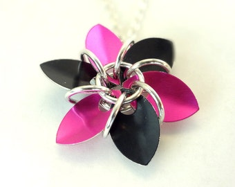 Flower Necklace Pink And Black Dragon Scales