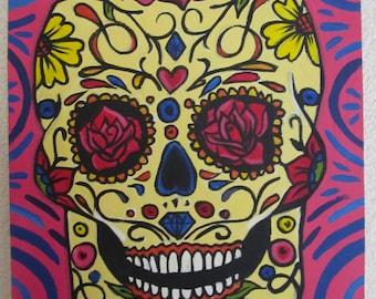 Mexican Canvas Art Original Acrylic Painting Folk Art Day of The Dead Sugar Skull Calavera