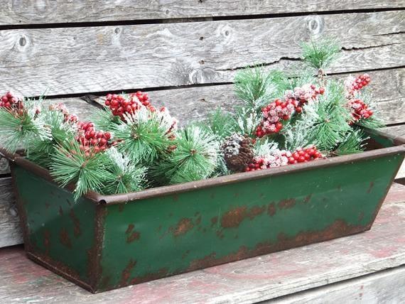 Green Metal Window Box Planter