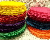 English style lace paper doilies hand-dyed BRIGHT colors. 4 inch. Weddings, Scrapbooking, Bunting, Smash booking, Journal