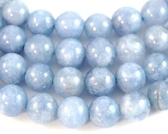 8mm Angelite in glacier-blue round beads -15 inch strand